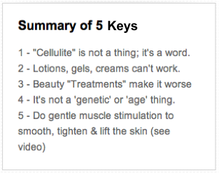 summary of 5 keys to kill cellulite in box
