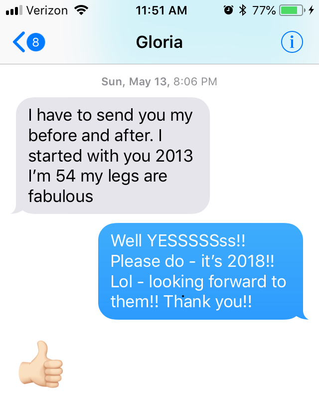 Glorias Before and After Cellulite success story text to Joey